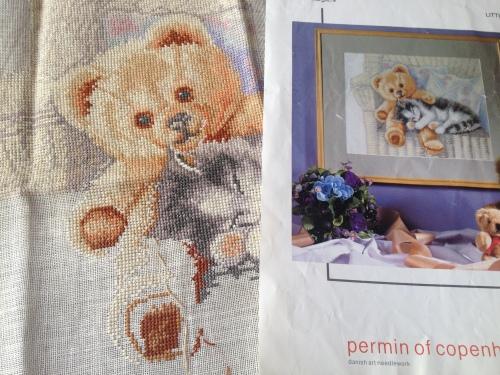 kitten and bear cross stitch