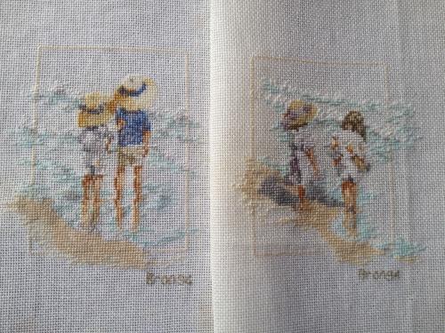 cross stitch at the beach
