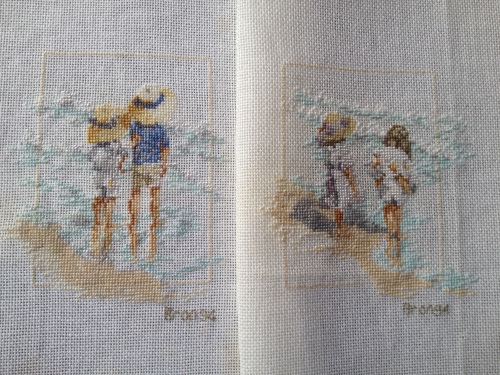 cross stitch at the beach
