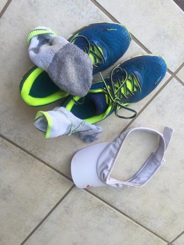 hot sweaty running cap socks shoes