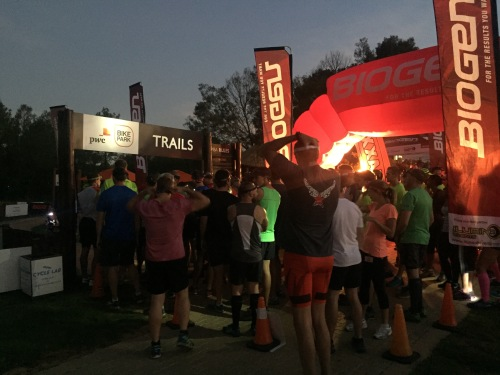 Runners ready! The first batch, ready to go. Headlamps being turned on.