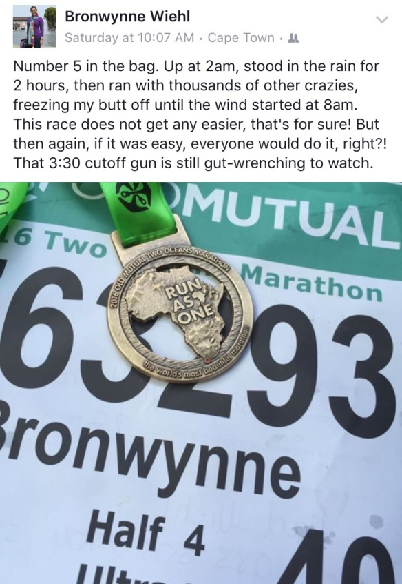 facebook status update after running two oceans