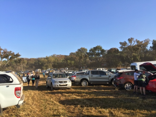 Cars parked at Segwati trail running