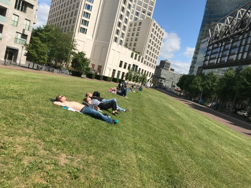 lying in the park in berlin