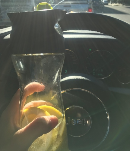 Driving with water bottle